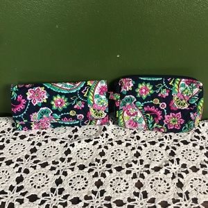Vera Bradley Trifold Wallet and small cosmetic bag